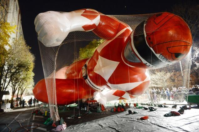 Macy's Thanksgiving Day Parade: Balloons Being Inflated the Night Before on West 77th Street off Central Park West