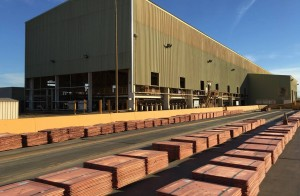 Copper stockpiled at BHP Billiton's Olympic Dam Plant